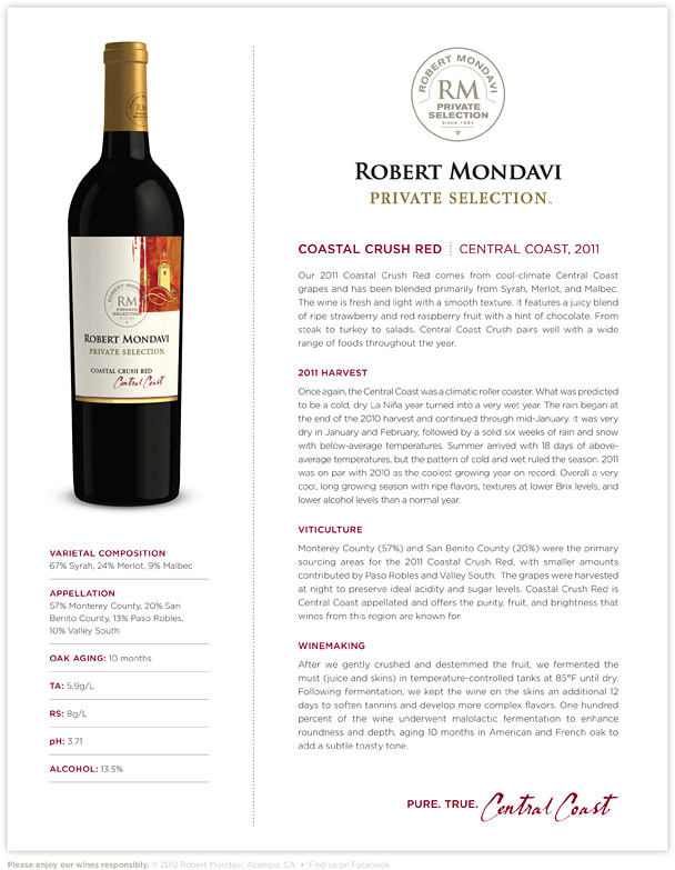 Robert Mondavi Private Selection Coastal Crush - Live Wine Tasting & Twitter Party