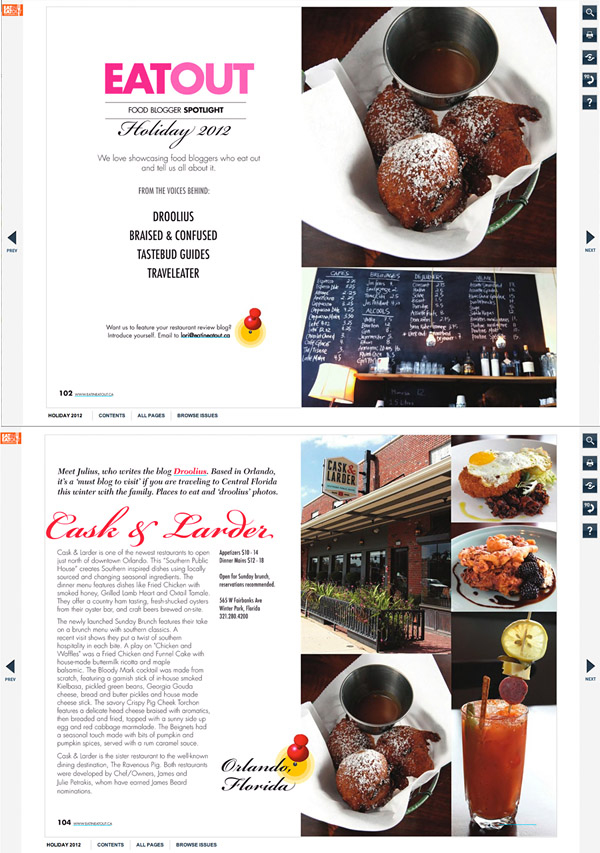 Eat In Eat Out Magazine Holiday Issue featuring Droolius and Cask & Larder