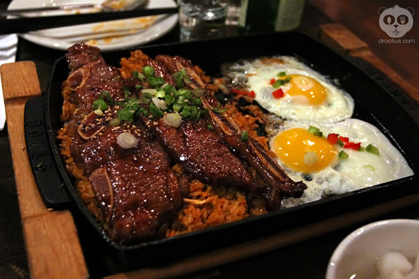Kalbi, eggs, kimchee fried rice