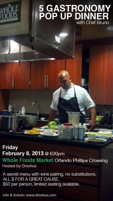 5 Gastronomy POP Up Dinner at Whole Foods Market Orlando, FL