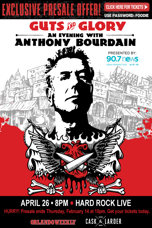 Anthony Bourdain brings Guts & Glory Tour to Hard Rock LIVE in Orlando on April 26