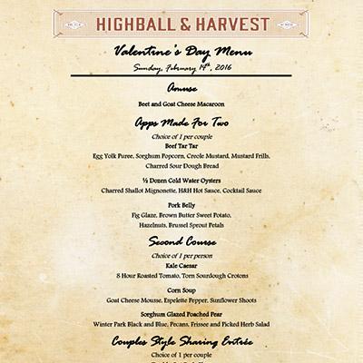 Five Prix Fixe menu for Valentine's Day 2016 in Orlando