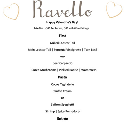 Five Prix Fixe menu for Valentine's Day 2016 in Orlando